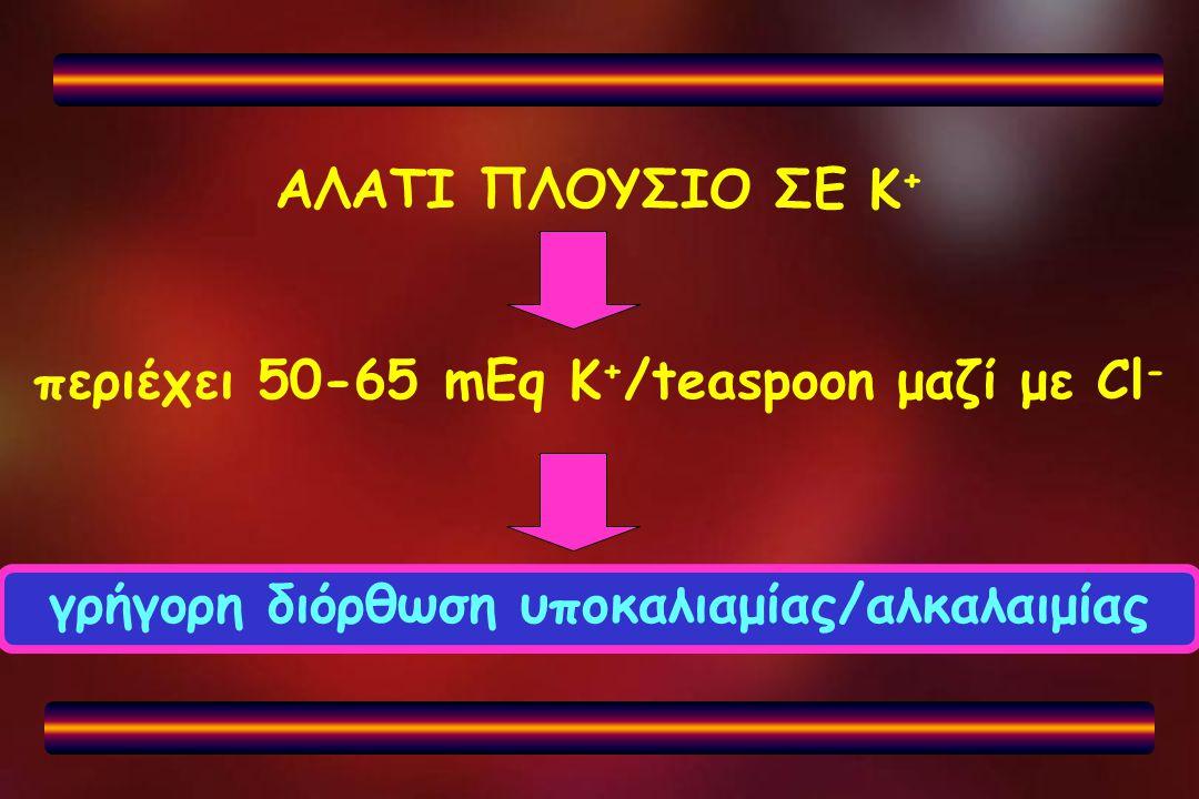 ΑΛΑΤΙ ΠΛΟΥΣΙΟ ΣΕ Κ + περιέχει 50-65 mEq K + /teaspoon μαζί με Cl - γρήγορη διόρθωση υποκαλιαμίας/αλκαλαιμίας