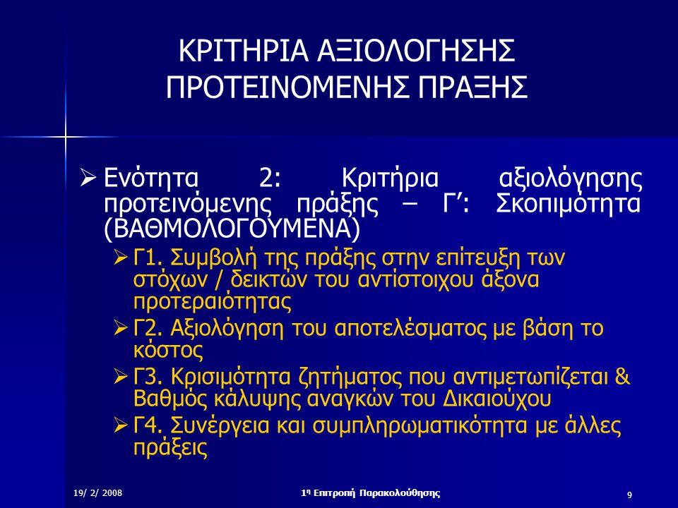 10 19/ 2/ 20081 η Επιτροπή Παρακολούθησης ΚΡΙΤΗΡΙΑ ΑΞΙΟΛΟΓΗΣΗΣ ΠΡΟΤΕΙΝΟΜΕΝΗΣ ΠΡΑΞΗΣ  Ενότητα 2: Κριτήρια αξιολόγησης προτεινόμενης πράξης – Δ': Ωριμότητα (ΒΑΘΜΟΛΟΓΟΥΜΕΝΑ)  Δ1.