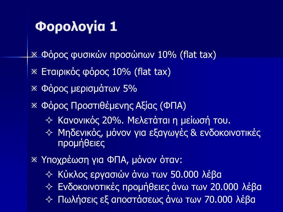 Φορολογία 1   Φόρος φυσικών προσώπων 10% (flat tax)   Εταιρικός φόρος 10% (flat tax)   Φόρος μερισμάτων 5%   Φόρος Προστιθέμενης Αξίας (ΦΠΑ)   Κανονικός 20%.