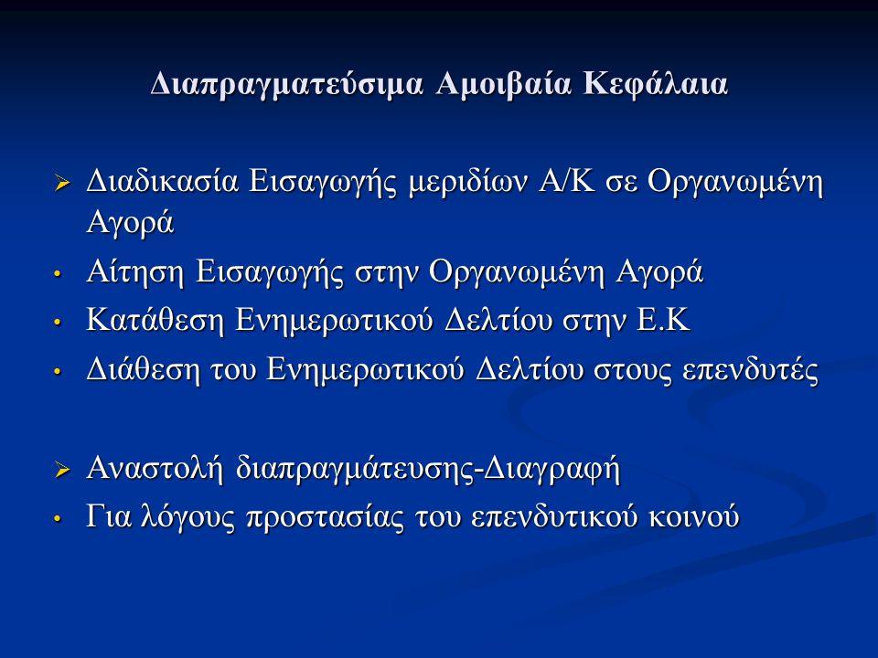 Διαπραγματεύσιμα Αμοιβαία Κεφάλαια  Διαδικασία Εισαγωγής μεριδίων Α/Κ σε Οργανωμένη Αγορά Αίτηση Εισαγωγής στην Οργανωμένη Αγορά Αίτηση Εισαγωγής στην Οργανωμένη Αγορά Κατάθεση Ενημερωτικού Δελτίου στην Ε.Κ Κατάθεση Ενημερωτικού Δελτίου στην Ε.Κ Διάθεση του Ενημερωτικού Δελτίου στους επενδυτές Διάθεση του Ενημερωτικού Δελτίου στους επενδυτές  Αναστολή διαπραγμάτευσης-Διαγραφή Για λόγους προστασίας του επενδυτικού κοινού Για λόγους προστασίας του επενδυτικού κοινού