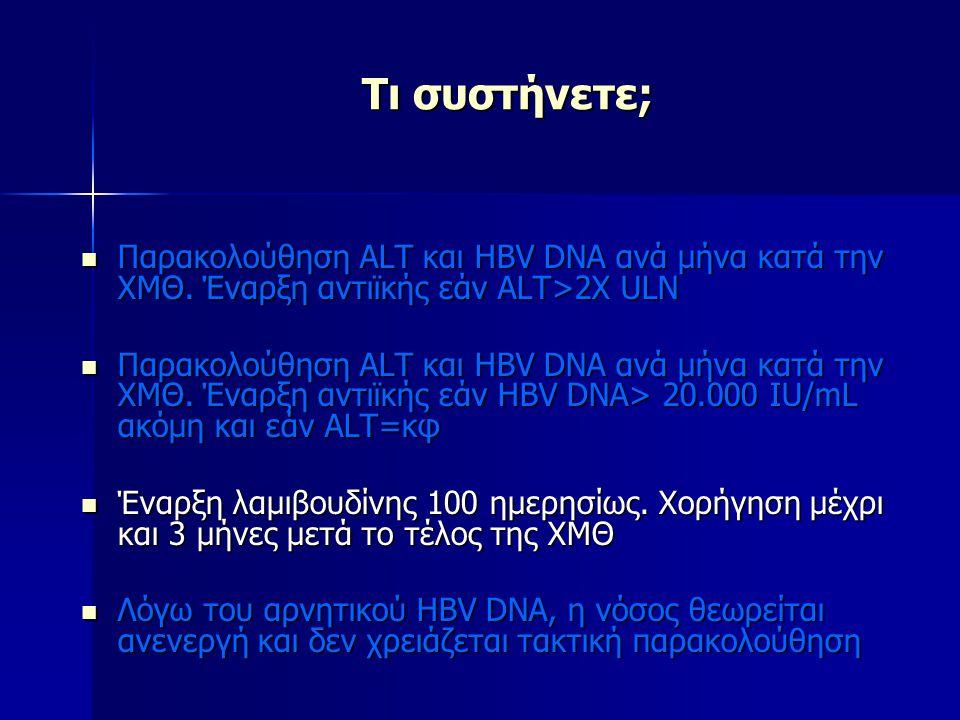 Τι συστήνετε; Παρακολούθηση ALT και HBV DNA ανά μήνα κατά την ΧΜΘ. Έναρξη αντιϊκής εάν ALT>2X ULN Παρακολούθηση ALT και HBV DNA ανά μήνα κατά την ΧΜΘ.