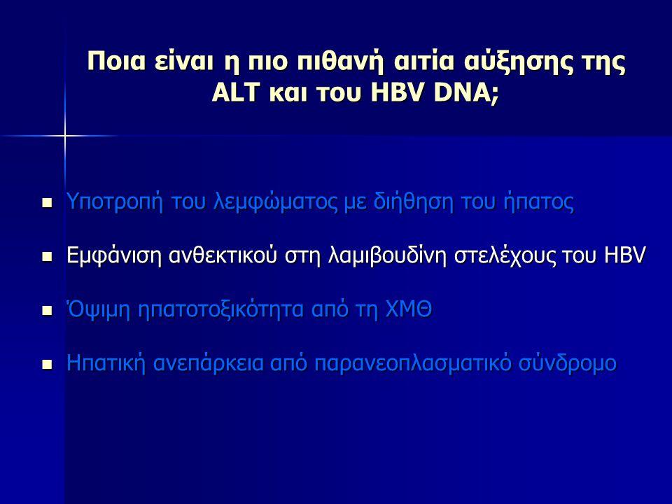 Ποια είναι η πιο πιθανή αιτία αύξησης της ALT και του HBV DNA; Υποτροπή του λεμφώματος με διήθηση του ήπατος Υποτροπή του λεμφώματος με διήθηση του ήπ