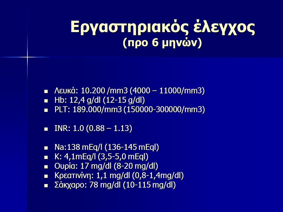 Εργαστηριακός έλεγχος (προ 6 μηνών) Λευκά: 10.200 /mm3 (4000 – 11000/mm3) Λευκά: 10.200 /mm3 (4000 – 11000/mm3) Hb: 12,4 g/dl (12-15 g/dl) Hb: 12,4 g/
