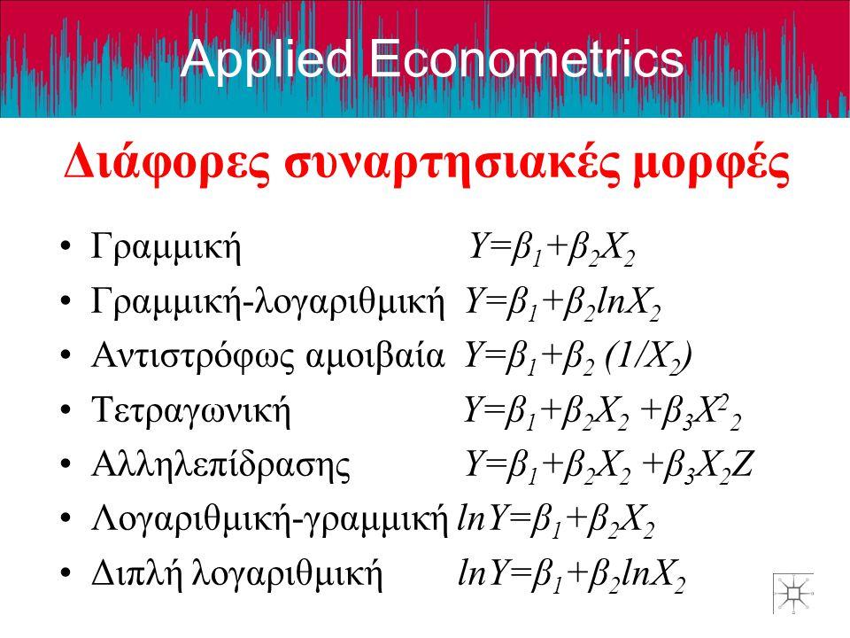 Applied Econometrics Διάφορες συναρτησιακές μορφές Γραμμική Y=β 1 +β 2 X 2 Γραμμική-λογαριθμική Y=β 1 +β 2 lnX 2 Αντιστρόφως αμοιβαία Y=β 1 +β 2 (1/X