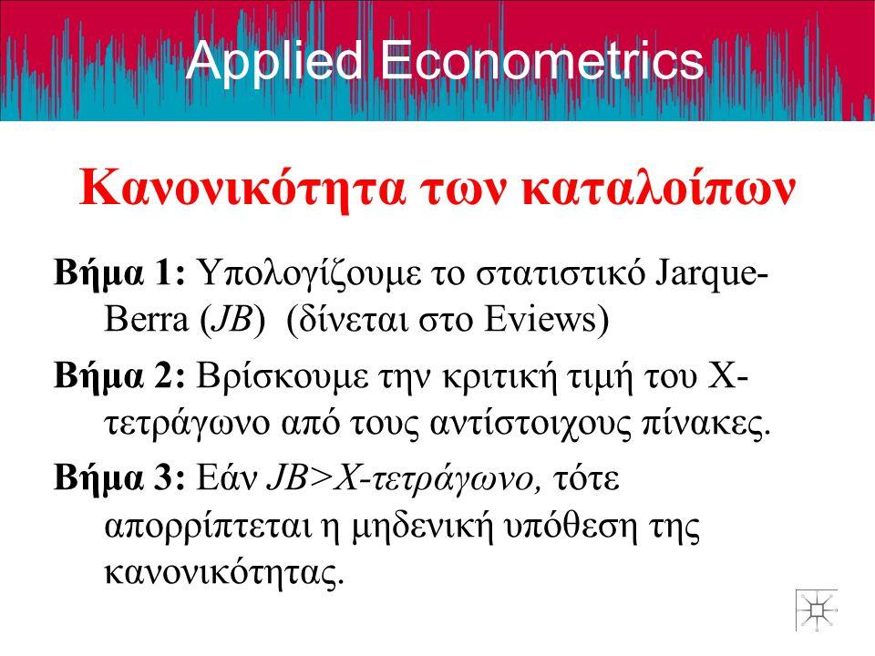 Applied Econometrics Κανονικότητα των καταλοίπων Βήμα 1: Υπολογίζουμε το στατιστικό Jarque- Berra (JB) (δίνεται στο Eviews) Βήμα 2: Βρίσκουμε την κριτ