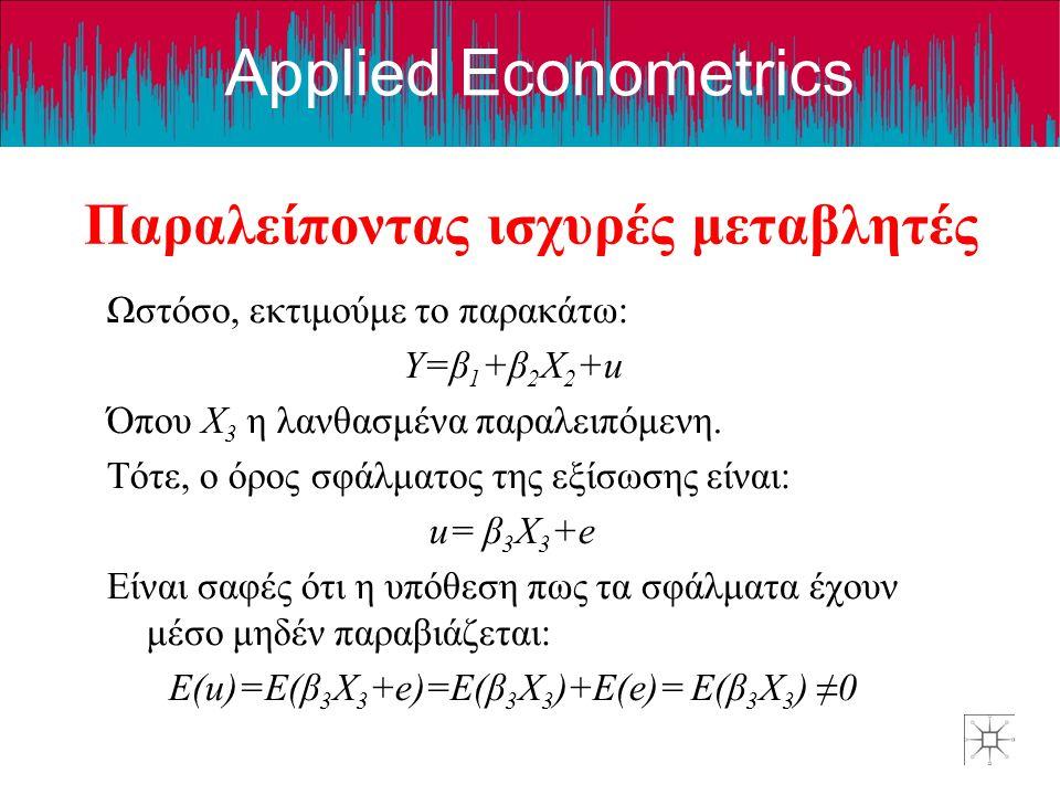 Applied Econometrics Παραλείποντας ισχυρές μεταβλητές Επιπλέον, εάν η παραλειπόμενη μεταβλητή X 3 συσχετίζεται με την X 2 τότε ο όρος του σφάλματος δεν είναι πια ανεξάρτητος του X 2.