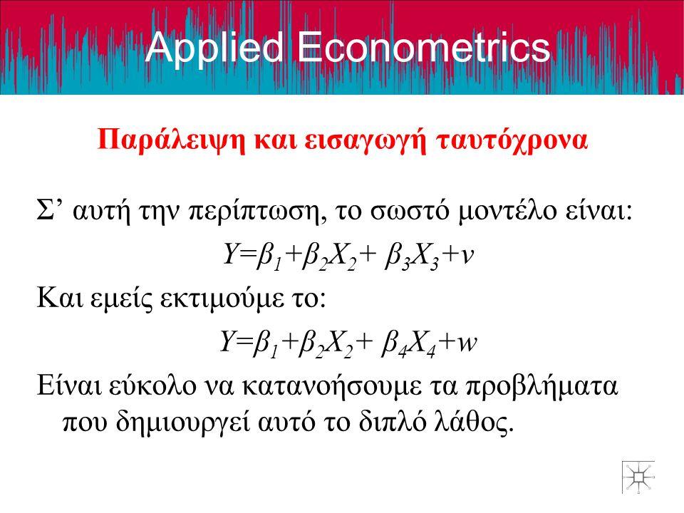 Applied Econometrics Παράλειψη και εισαγωγή ταυτόχρονα Σ' αυτή την περίπτωση, το σωστό μοντέλο είναι: Y=β 1 +β 2 X 2 + β 3 X 3 +v Και εμείς εκτιμούμε