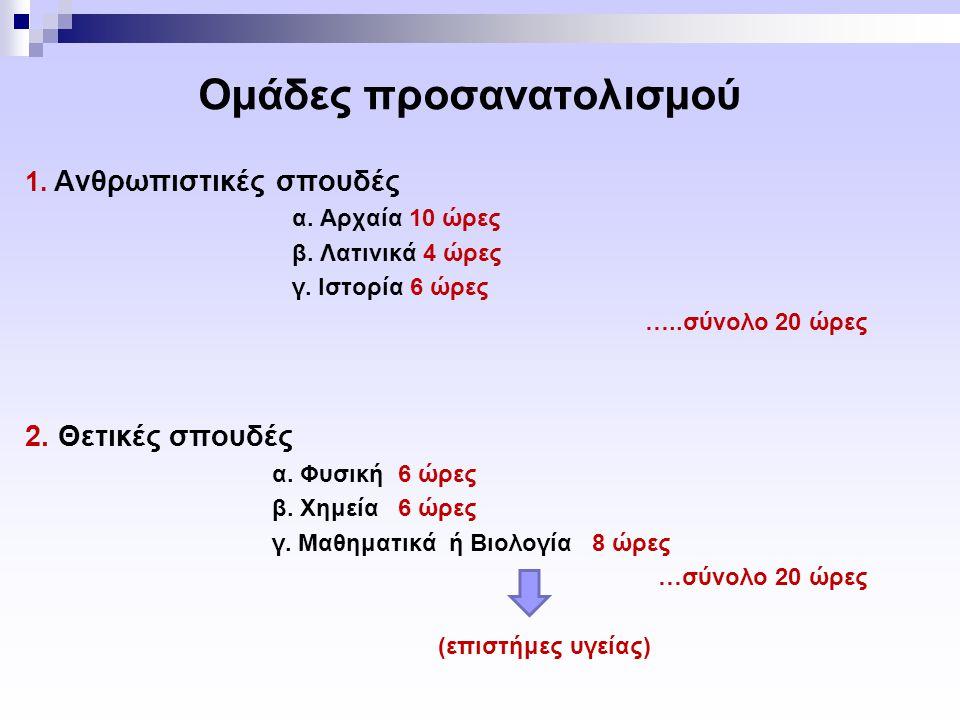 Ομάδες προσανατολισμού 1.Ανθρωπιστικές σπουδές α.
