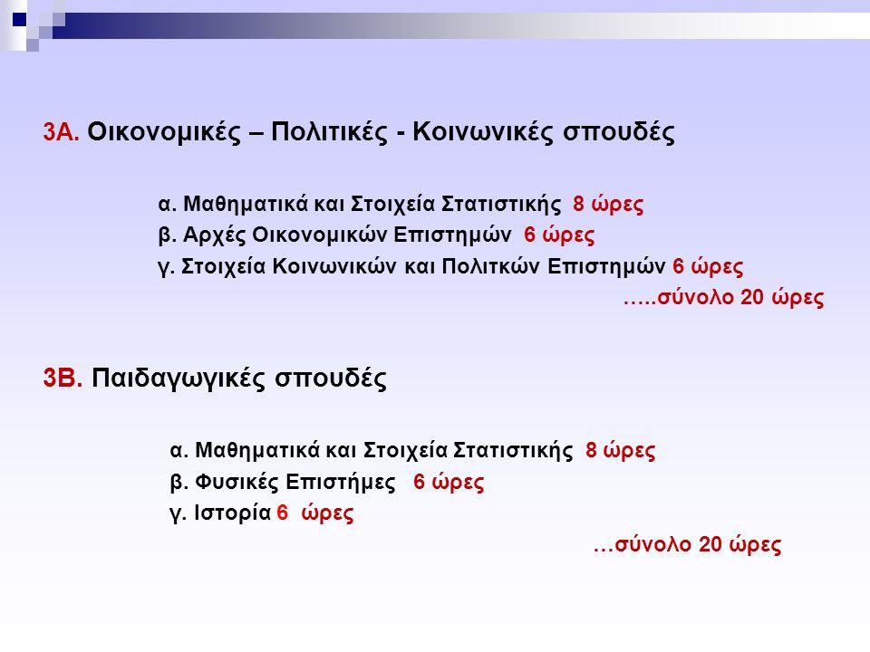 3Α.Οικονομικές – Πολιτικές - Κοινωνικές σπουδές α.
