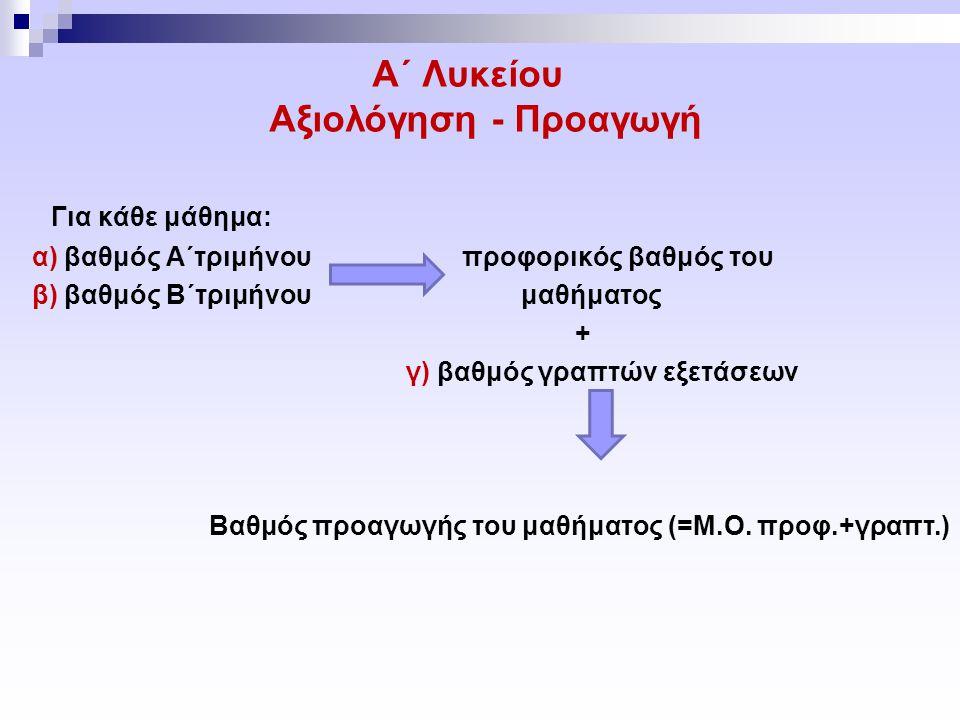 Α΄ Λυκείου Αξιολόγηση - Προαγωγή Για κάθε μάθημα: α) βαθμός Α΄τριμήνου προφορικός βαθμός του β) βαθμός Β΄τριμήνου μαθήματος + γ) βαθμός γραπτών εξετάσεων Βαθμός προαγωγής του μαθήματος (=Μ.Ο.