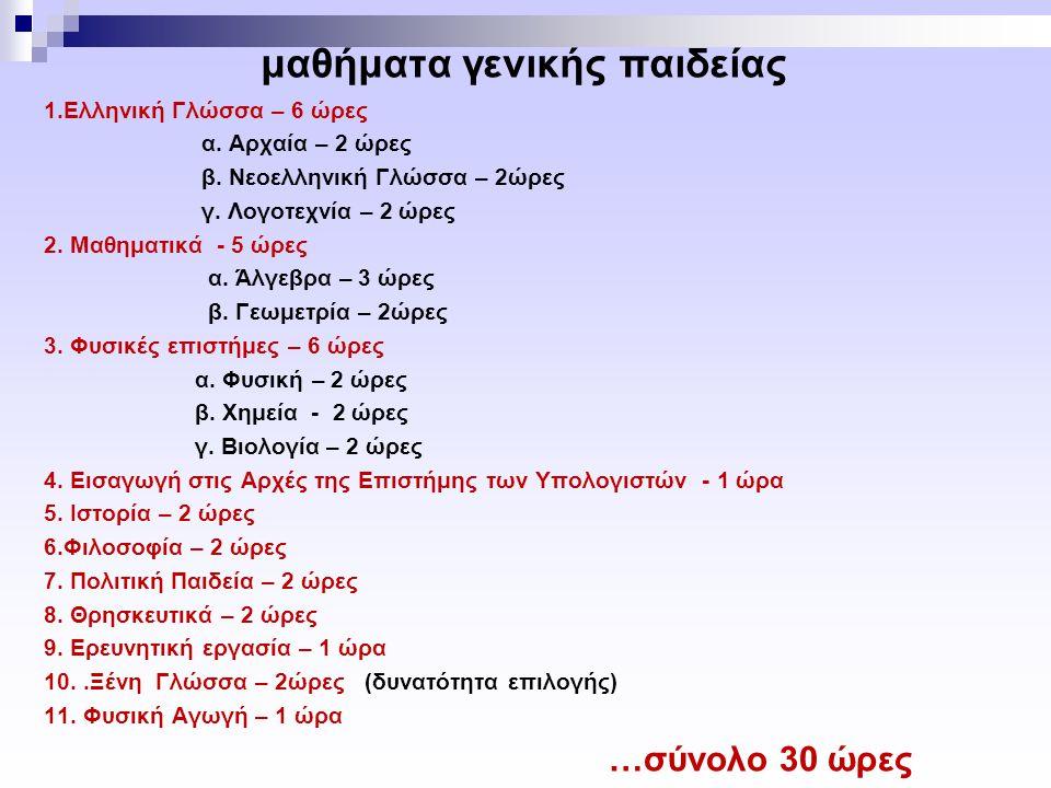 μαθήματα γενικής παιδείας 1.Ελληνική Γλώσσα – 6 ώρες α.