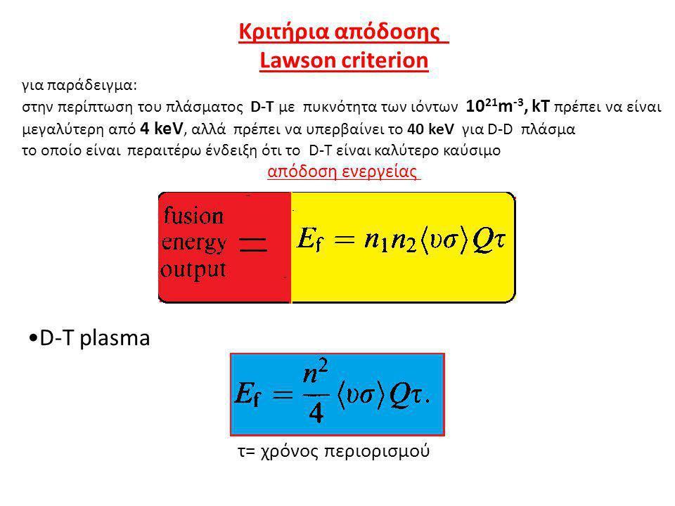Κριτήρια απόδοσης Lawson criterion για παράδειγμα: στην περίπτωση του πλάσματος D-T με πυκνότητα των ιόντων 10 21 m -3, kΤ πρέπει να είναι μεγαλύτερη