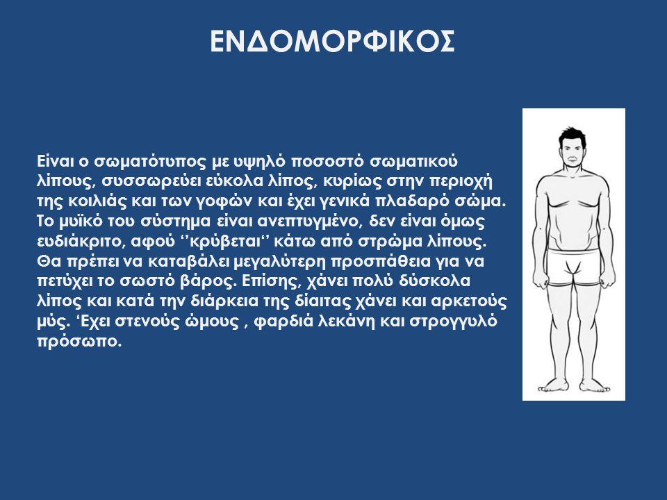 Είναι ο σωματότυπος με υψηλό ποσοστό σωματικού λίπους, συσσωρεύει εύκολα λίπος, κυρίως στην περιοχή της κοιλιάς και των γοφών και έχει γενικά πλαδαρό