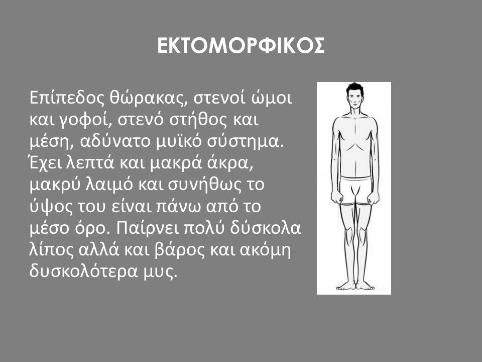 ΕΚΤΟΜΟΡΦΙΚΟΣ Επίπεδος θώρακας, στενοί ώμοι και γοφοί, στενό στήθος και μέση, αδύνατο μυϊκό σύστημα. Έχει λεπτά και μακρά άκρα, μακρύ λαιμό και συνήθως