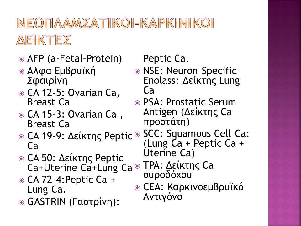  AFP (a-Fetal-Protein)  Aλφα Εμβρυϊκή Σφαιρίνη  CA 12-5: Ovarian Ca, Breast Ca  CA 15-3: Ovarian Ca, Breast Ca  CA 19-9: Δείκτης Peptic Ca  CA 5