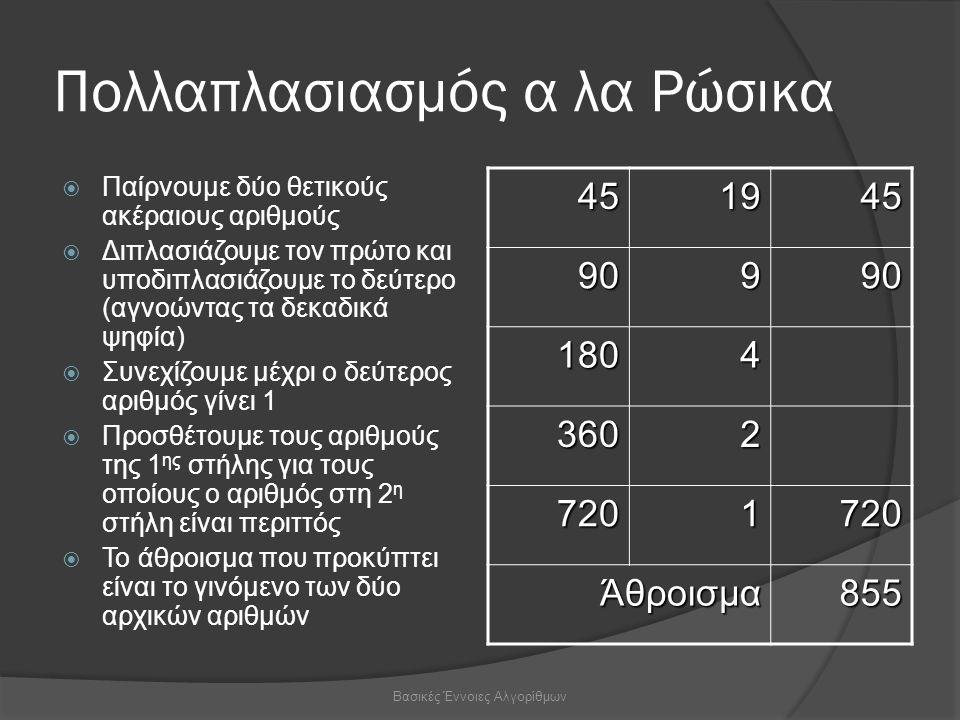 Πολλαπλασιασμός α λα Ρώσικα  Παίρνουμε δύο θετικούς ακέραιους αριθμούς  Διπλασιάζουμε τον πρώτο και υποδιπλασιάζουμε το δεύτερο (αγνοώντας τα δεκαδικά ψηφία)  Συνεχίζουμε μέχρι ο δεύτερος αριθμός γίνει 1  Προσθέτουμε τους αριθμούς της 1 ης στήλης για τους οποίους ο αριθμός στη 2 η στήλη είναι περιττός  Το άθροισμα που προκύπτει είναι το γινόμενο των δύο αρχικών αριθμών 451945 90990 1804 3602 7201720 Άθροισμα855 Βασικές Έννοιες Αλγορίθμων