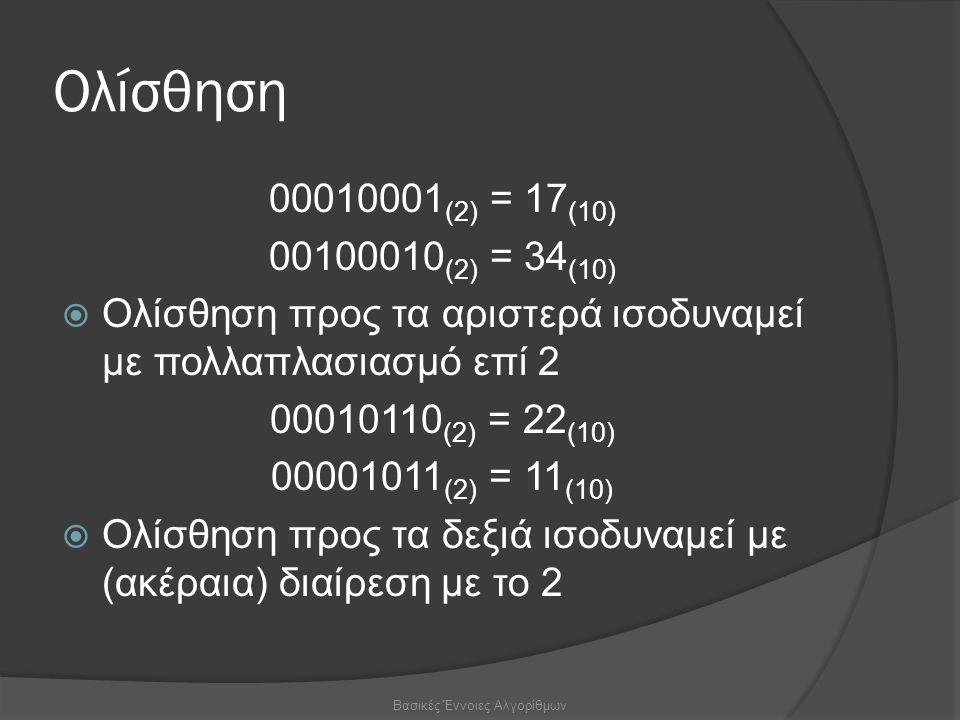 Ολίσθηση 00010001 (2) = 17 (10) 00100010 (2) = 34 (10)  Ολίσθηση προς τα αριστερά ισοδυναμεί με πολλαπλασιασμό επί 2 00010110 (2) = 22 (10) 00001011 (2) = 11 (10)  Ολίσθηση προς τα δεξιά ισοδυναμεί με (ακέραια) διαίρεση με το 2 Βασικές Έννοιες Αλγορίθμων