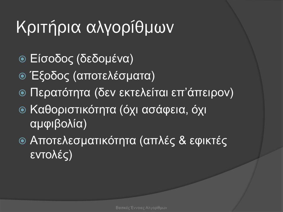 Κριτήρια αλγορίθμων  Είσοδος (δεδομένα)  Έξοδος (αποτελέσματα)  Περατότητα (δεν εκτελείται επ'άπειρον)  Καθοριστικότητα (όχι ασάφεια, όχι αμφιβολία)  Αποτελεσματικότητα (απλές & εφικτές εντολές) Βασικές Έννοιες Αλγορίθμων