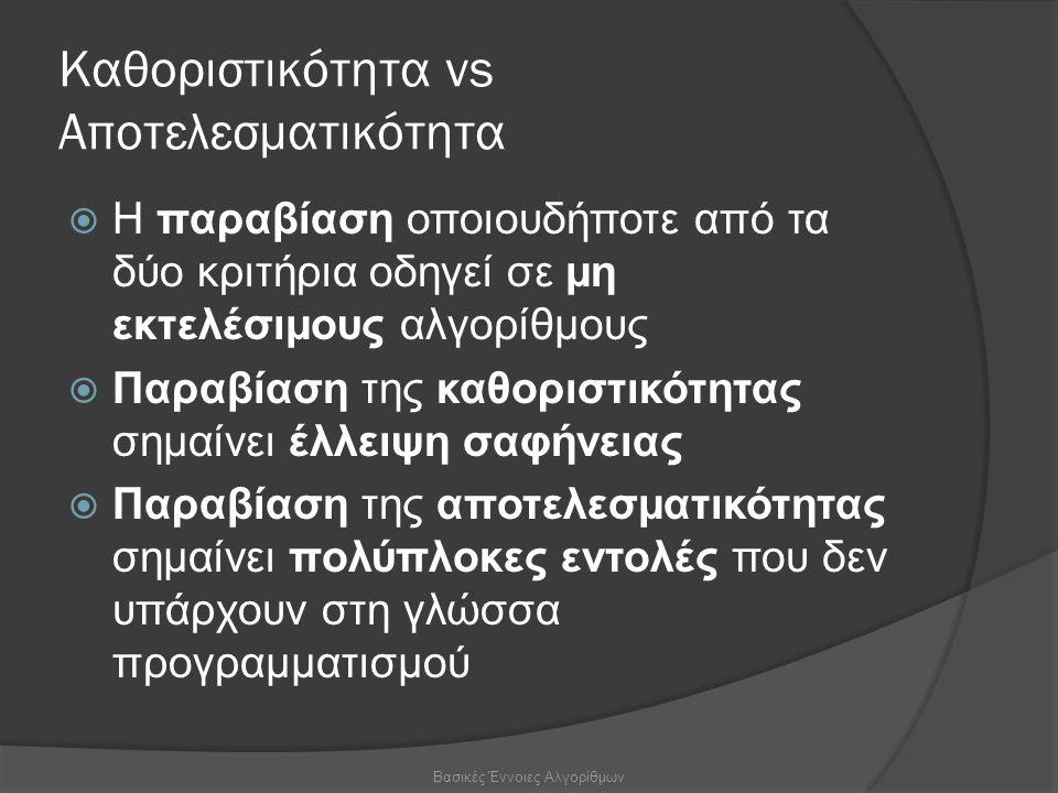 Καθοριστικότητα vs Αποτελεσματικότητα  Η παραβίαση οποιουδήποτε από τα δύο κριτήρια οδηγεί σε μη εκτελέσιμους αλγορίθμους  Παραβίαση της καθοριστικότητας σημαίνει έλλειψη σαφήνειας  Παραβίαση της αποτελεσματικότητας σημαίνει πολύπλοκες εντολές που δεν υπάρχουν στη γλώσσα προγραμματισμού Βασικές Έννοιες Αλγορίθμων