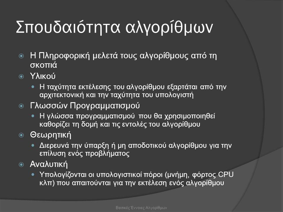 Σπουδαιότητα αλγορίθμων  Η Πληροφορική μελετά τους αλγορίθμους από τη σκοπιά  Υλικού Η ταχύτητα εκτέλεσης του αλγορίθμου εξαρτάται από την αρχιτεκτονική και την ταχύτητα του υπολογιστή  Γλωσσών Προγραμματισμού Η γλώσσα προγραμματισμού που θα χρησιμοποιηθεί καθορίζει τη δομή και τις εντολές του αλγορίθμου  Θεωρητική Διερευνά την ύπαρξη ή μη αποδοτικού αλγορίθμου για την επίλυση ενός προβλήματος  Αναλυτική Υπολογίζονται οι υπολογιστικοί πόροι (μνήμη, φόρτος CPU κλπ) που απαιτούνται για την εκτέλεση ενός αλγορίθμου Βασικές Έννοιες Αλγορίθμων