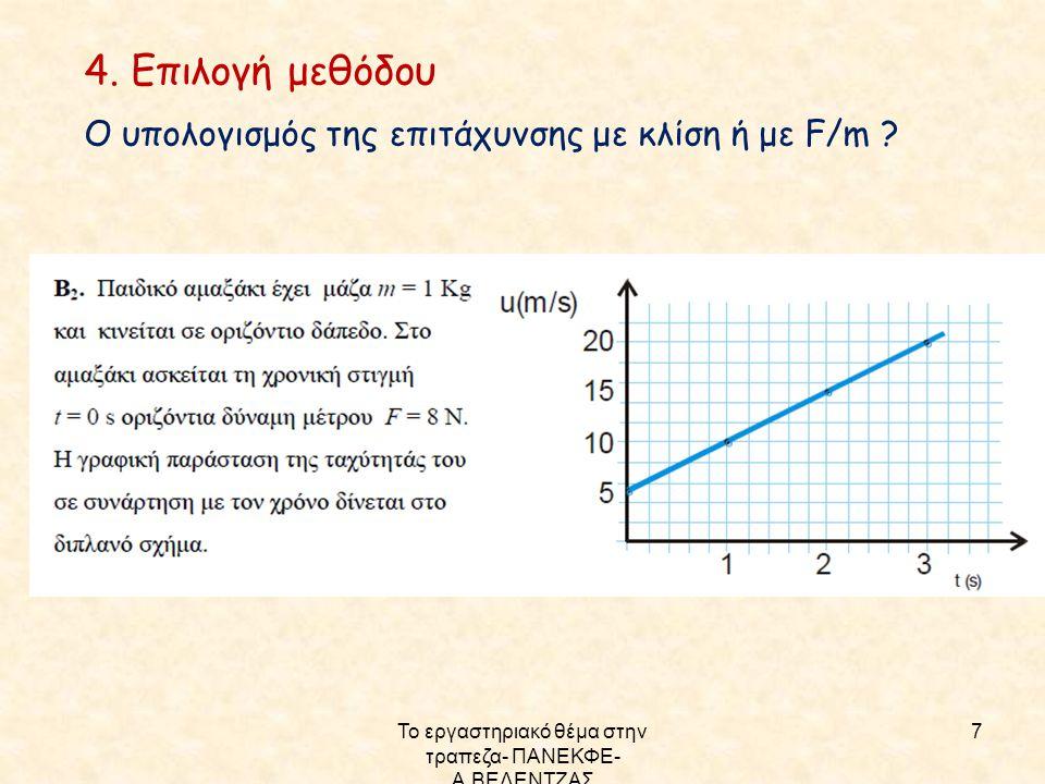Το εργαστηριακό θέμα στην τραπεζα- ΠΑΝΕΚΦΕ- Α.ΒΕΛΕΝΤΖΑΣ 7 4. Επιλογή μεθόδου Ο υπολογισμός της επιτάχυνσης με κλίση ή με F/m ?