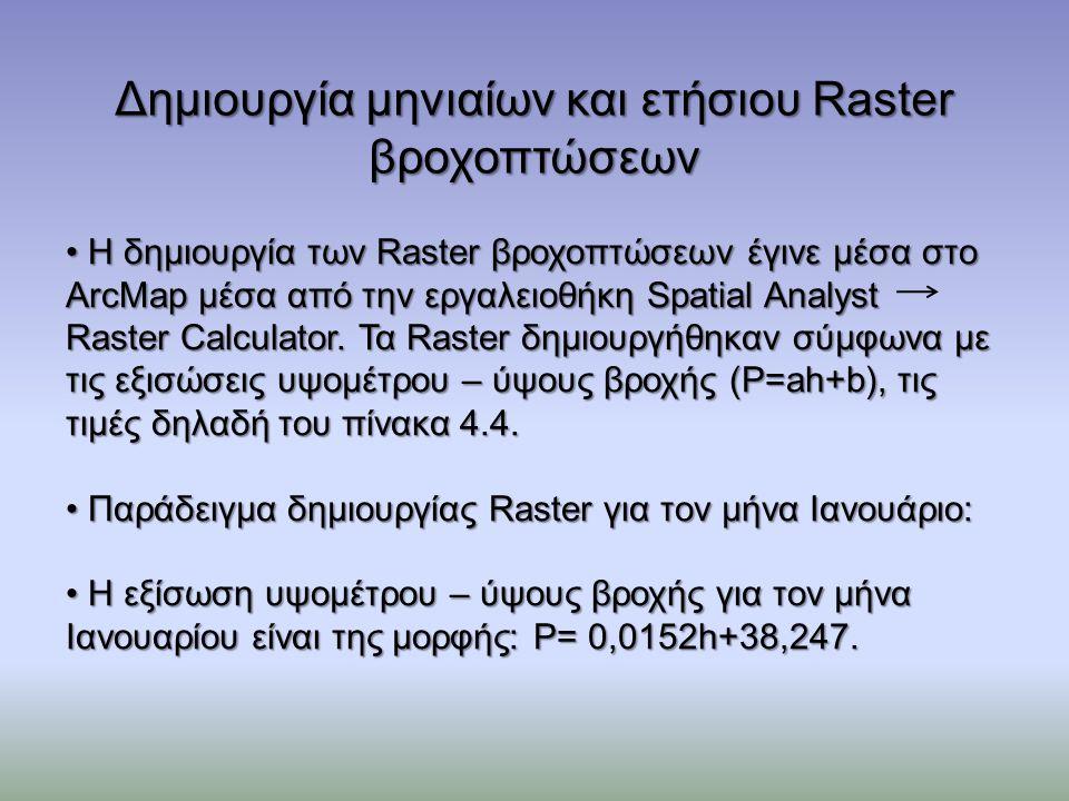 Δημιουργία μηνιαίων και ετήσιου Raster βροχοπτώσεων Η δημιουργία των Raster βροχοπτώσεων έγινε μέσα στο ArcMap μέσα από την εργαλειοθήκη Spatial Analyst Raster Calculator.