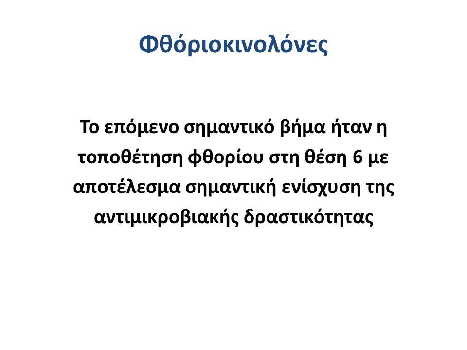 Κινολόνες Αντιμικροβιακό φάσμα Gram(-) αερόβια (Ψευδομονάδα: Cipro) Gram(+) αερόβια (αναπνευστικές κινολόνες) Αναερόβια (μοξιφλοξασίνη) Άτυπα Μυκοβακτηρίδια