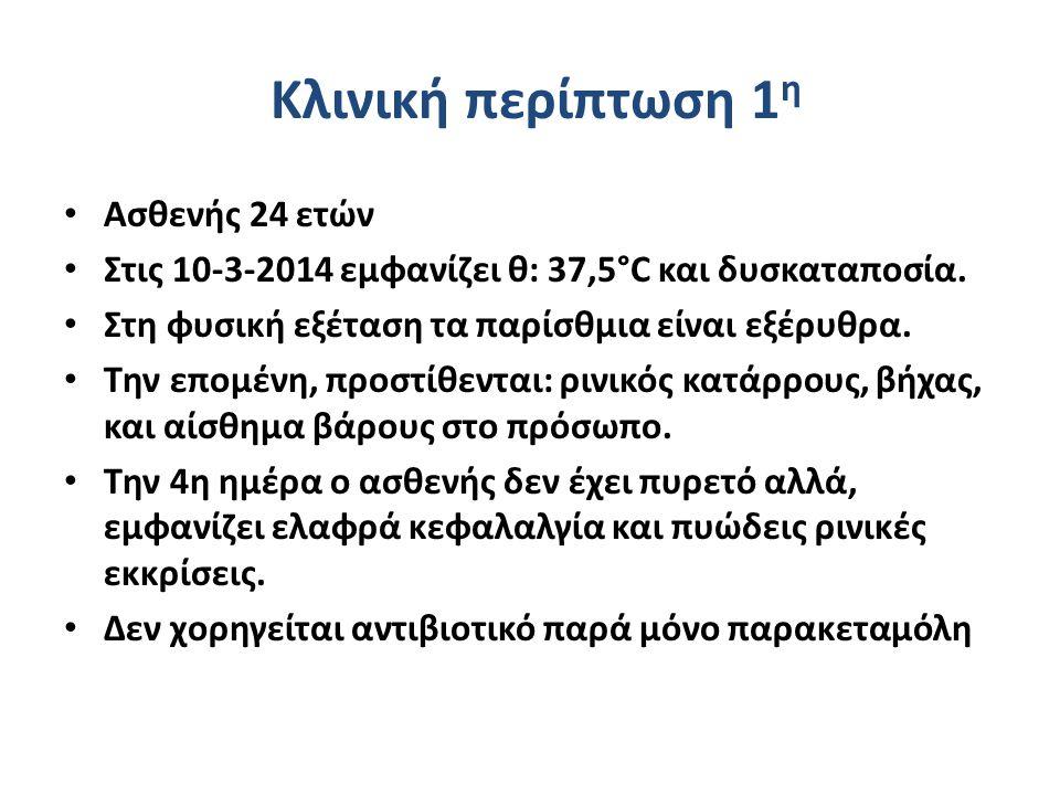 Κλινική περίπτωση 1 η Ασθενής 24 ετών Στις 10-3-2014 εμφανίζει θ: 37,5°C και δυσκαταποσία.
