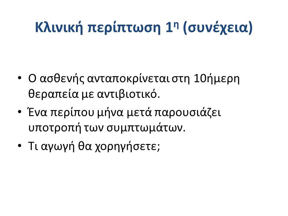 Κλινική περίπτωση 1 η (συνέχεια) Ο ασθενής ανταποκρίνεται στη 10ήμερη θεραπεία με αντιβιοτικό.