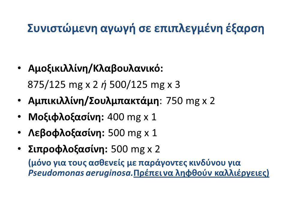 Συνιστώμενη αγωγή σε επιπλεγμένη έξαρση Αμοξικιλλίνη/Κλαβουλανικό: 875/125 mg x 2 ή 500/125 mg x 3 Αμπικιλλίνη/Σουλμπακτάμη: 750 mg x 2 Μοξιφλοξασίνη: