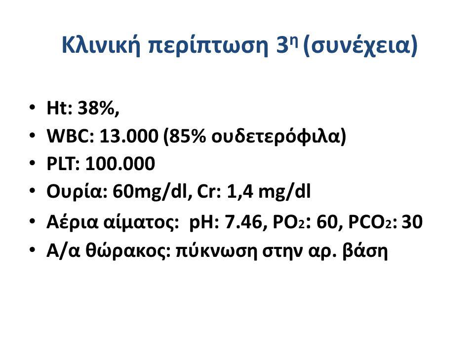 Κλινική περίπτωση 3 η (συνέχεια) Ht: 38%, WBC: 13.000 (85% ουδετερόφιλα) PLT: 100.000 Ουρία: 60mg/dl, Cr: 1,4 mg/dl Αέρια αίματος: pH: 7.46, PO 2 : 60