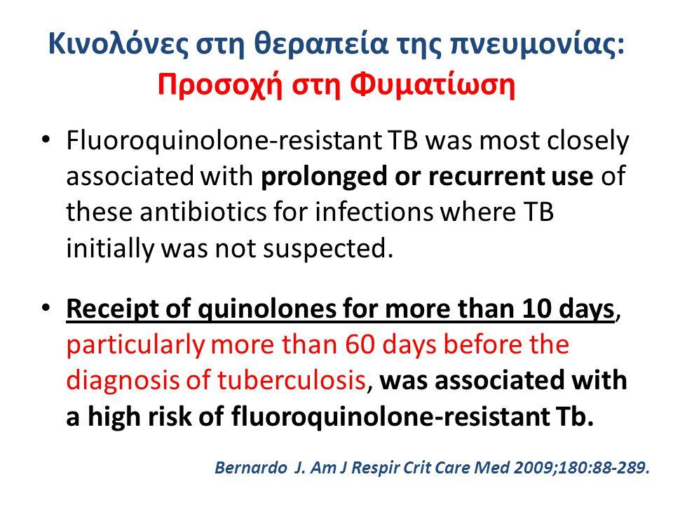 Κινολόνες στη θεραπεία της πνευμονίας: Προσοχή στη Φυματίωση Fluoroquinolone-resistant TB was most closely associated with prolonged or recurrent use of these antibiotics for infections where TB initially was not suspected.