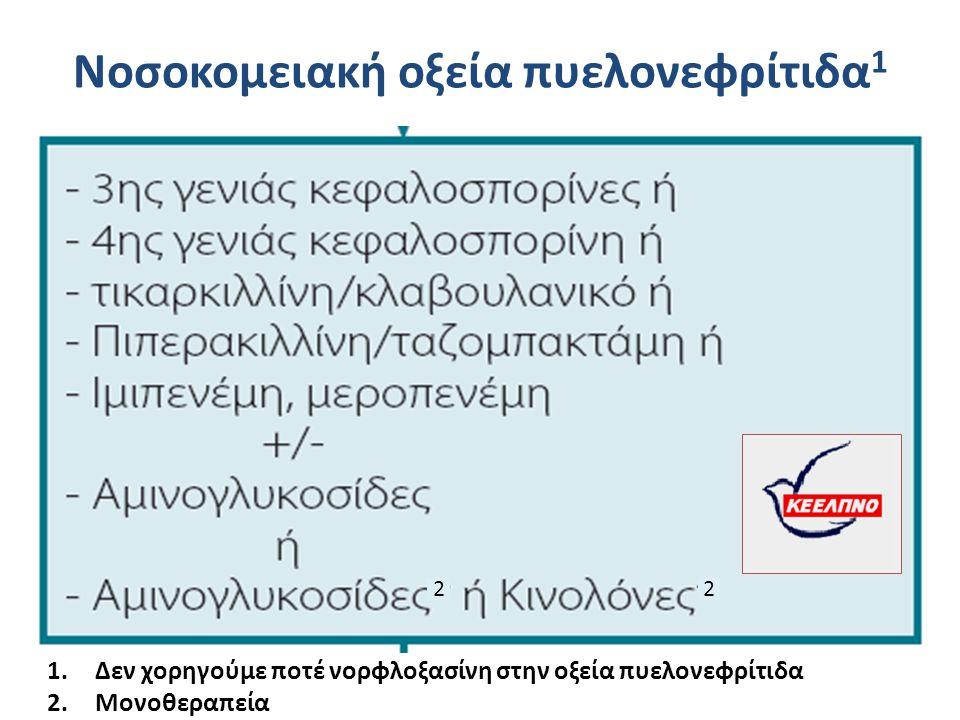 Νοσοκομειακή οξεία πυελονεφρίτιδα 1 22 1.Δεν χορηγούμε ποτέ νορφλοξασίνη στην οξεία πυελονεφρίτιδα 2.Μονοθεραπεία