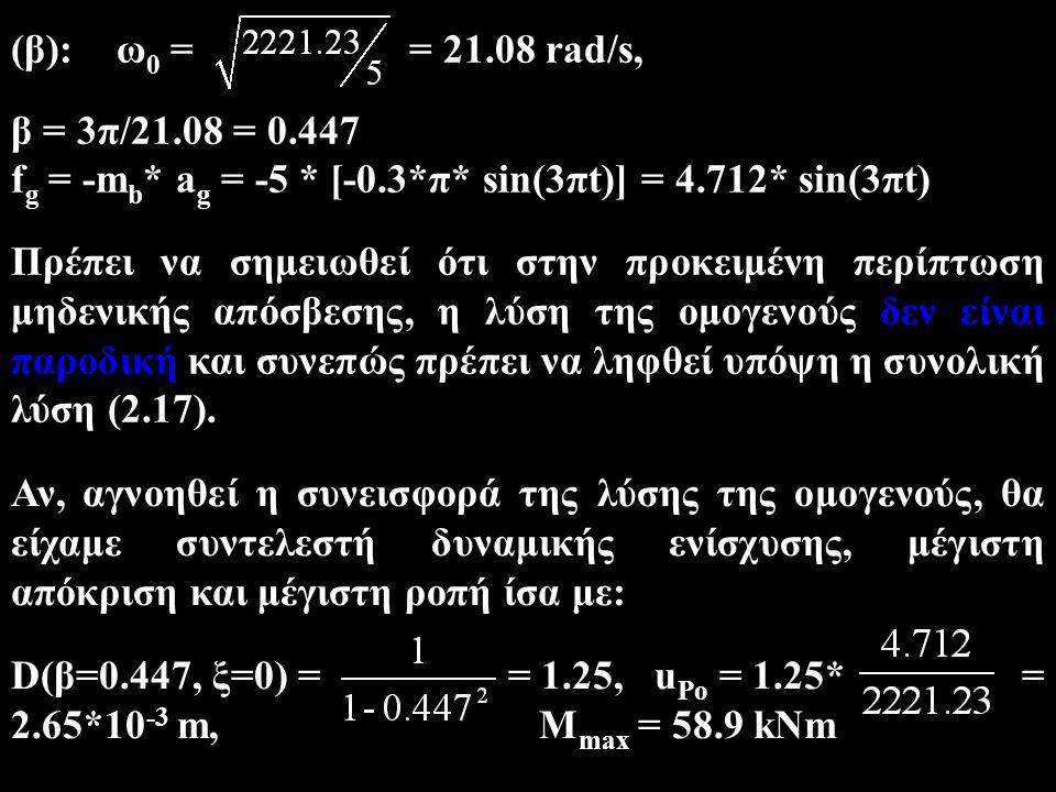 (β):ω 0 = = 21.08 rad/s, β = 3π/21.08 = 0.447 f g = -m b * a g = -5 * [-0.3*π* sin(3πt)] = 4.712* sin(3πt) Πρέπει να σημειωθεί ότι στην προκειμένη περ