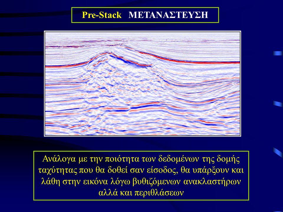 Ανάλογα με την ποιότητα των δεδομένων της δομής ταχύτητας που θα δοθεί σαν είσοδος, θα υπάρξουν και λάθη στην εικόνα λόγω βυθιζόμενων ανακλαστήρων αλλά και περιθλάσεων Pre-Stack ΜΕΤΑΝΑΣΤΕΥΣΗ