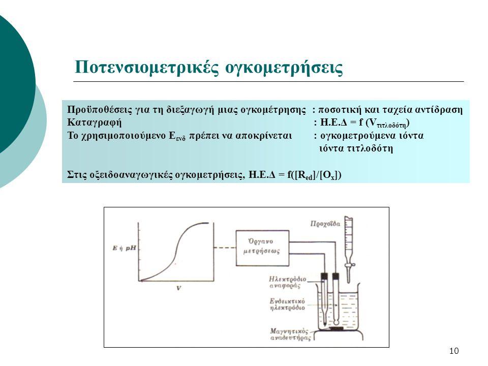 10 Ποτενσιομετρικές ογκομετρήσεις Προϋποθέσεις για τη διεξαγωγή μιας ογκομέτρησης : ποσοτική και ταχεία αντίδραση Καταγραφή : Η.Ε.Δ = f (V τιτλοδότη )