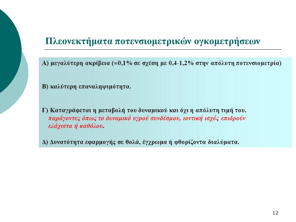 12 Πλεονεκτήματα ποτενσιομετρικών ογκομετρήσεων Α) μεγαλύτερη ακρίβεια (  0,1% σε σχέση με 0,4-1,2% στην απόλυτη ποτενσιομετρία) Β) καλύτερη επαναληψ