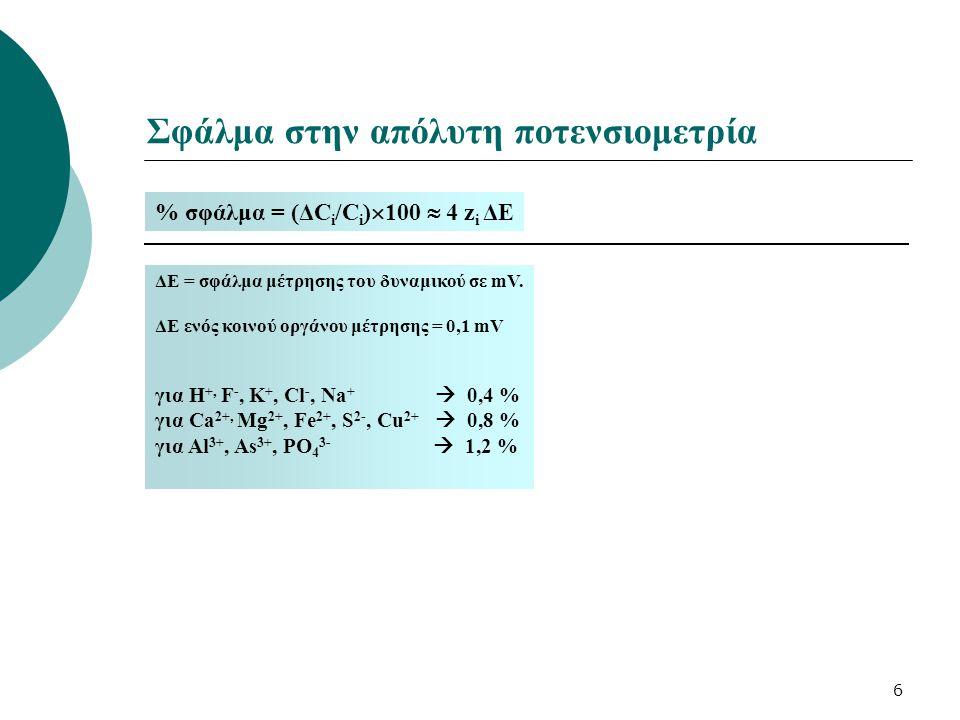 7 Άλλες πηγές σφαλμάτων στην απόλυτη ποτενσιομετρία Διαφορετικές τιμές pH προτύπων – άγνωστου δείγματος Διαφορετική ιοντική ισχύς μεταξύ προτύπων – άγνωστου δείγματος Τα πρότυπα και το άγνωστο δείγμα αραιώνονται (με τον ίδιο συντελεστή) σε διάλυμα TISAB (Total Ionic Strength Adjusting Buffer) μικτός ρυθμιστής ιοντικής ισχύος και οξύτητας