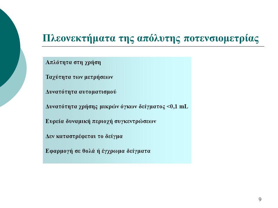 10 Ποτενσιομετρικές ογκομετρήσεις Προϋποθέσεις για τη διεξαγωγή μιας ογκομέτρησης : ποσοτική και ταχεία αντίδραση Καταγραφή : Η.Ε.Δ = f (V τιτλοδότη ) Το χρησιμοποιούμενο Ε ενδ πρέπει να αποκρίνεται : ογκομετρούμενα ιόντα ιόντα τιτλοδότη Στις οξειδοαναγωγικές ογκομετρήσεις, Η.Ε.Δ = f([R ed ]/[O x ])