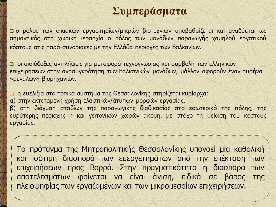 12 Συμπεράσματα  ο ρόλος των οικιακών εργαστηρίων/μικρών βιοτεχνιών υποβαθμίζεται και αναδύεται ως σημαντικός στη χωρική ιεραρχία ο ρόλος των μονάδων παραγωγής χαμηλού εργατικού κόστους στις παρά-συνοριακές με την Ελλάδα περιοχές των Βαλκανίων.