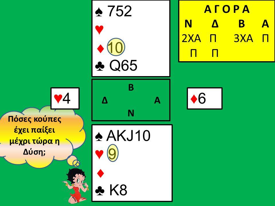 Πόσες κούπες έχει παίξει μέχρι τώρα η Δύση; ♥4♥4 Α Γ Ο Ρ Α N Δ Β Α 2ΧΑ Π ♠ ΑΚJ10 ♥ 9  ♣ K8 Β Δ Α Ν ♠ 752 ♥  10 ♣ Q65 Α Γ Ο Ρ Α N Δ Β Α 2ΧΑ Π 3ΧΑ Π Π Π ♦6♦6