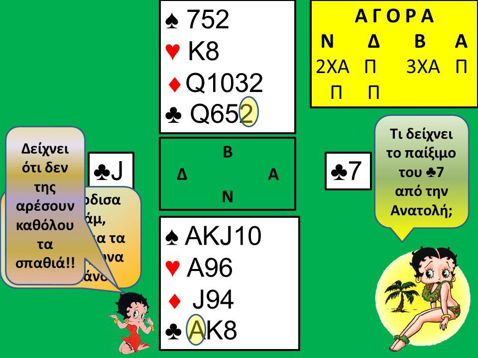 Η ♠ Q δεν έπεσε 2φυλλη..., άραγε θα είναι τα σπαθιά 3-3; ♣4♣4 Α Γ Ο Ρ Α N Δ Β Α 2ΧΑ Π ♠ J10 ♥  ♣ K8 Β Δ Α Ν ♠ 7 ♥  ♣ Q65 Α Γ Ο Ρ Α N Δ Β Α 2ΧΑ Π 3ΧΑ Π Π Π ♣3♣3