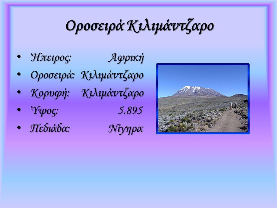 Οροσειρά Κιλιμάντζαρο Ήπειρος: Αφρική Ήπειρος: Αφρική Οροσειρά: Κιλιμάντζαρο Οροσειρά: Κιλιμάντζαρο Κορυφή: Κιλιμάντζαρο Κορυφή: Κιλιμάντζαρο Ύψος: 5.