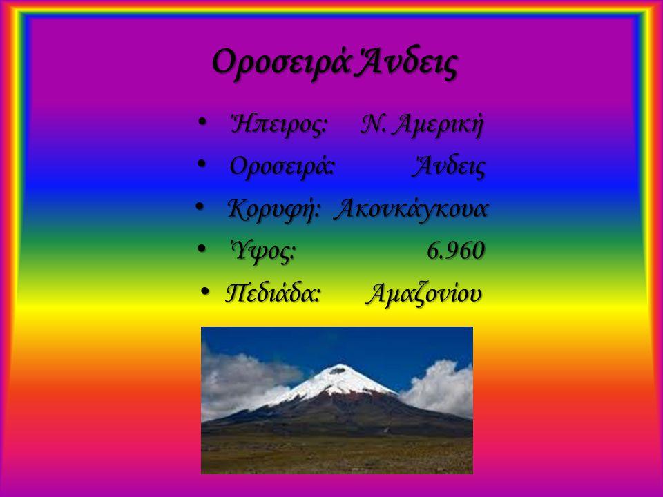 Οροσειρά Άνδεις Ήπειρος: Ν. Αμερική Ήπειρος: Ν. Αμερική Οροσειρά: Άνδεις Οροσειρά: Άνδεις Κορυφή: Ακονκάγκουα Κορυφή: Ακονκάγκουα Ύψος: 6.960 Ύψος: 6.