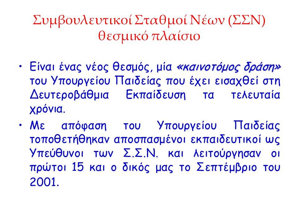 Συμβουλευτικοί Σταθμοί Νέων (ΣΣΝ) θεσμικό πλαίσιο «καινοτόμος δράση»Είναι ένας νέος θεσμός, μία «καινοτόμος δράση» του Υπουργείου Παιδείας που έχει ει