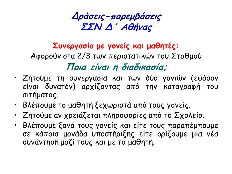 Δράσεις-παρεμβάσεις ΣΣΝ Δ΄ Αθήνας Συνεργασία με γονείς και μαθητές: Αφορούν στα 2/3 των περιστατικών του Σταθμού Ποια είναι η διαδικασία; Ζητούμε τη σ