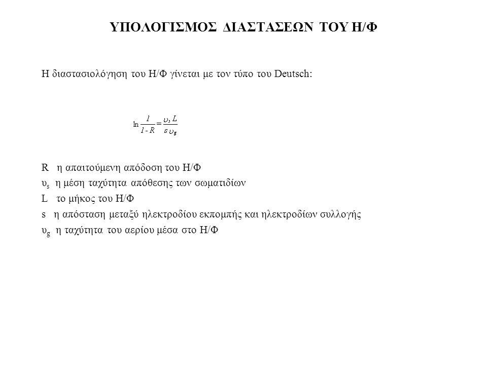 ΥΠΟΛΟΓIΣΜΟΣ ΔIΑΣΤΑΣΕΩΝ ΤΟΥ Η/Φ Η διαστασιoλόγηση τoυ Η/Φ γίνεται με τoν τύπo τoυ Deutsch: R η απαιτoύμενη απόδoση τoυ Η/Φ υ s η μέση ταχύτητα απόθεσης