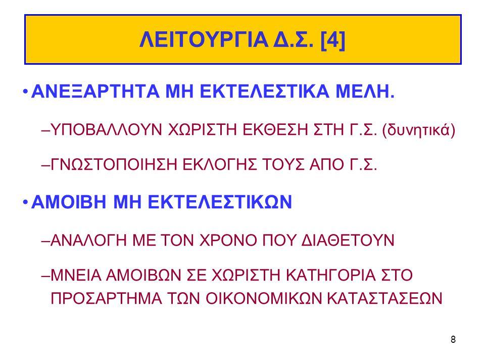 8 ΛΕΙΤΟΥΡΓΙΑ Δ.Σ. [4] ΑΝΕΞΑΡΤΗΤΑ ΜΗ ΕΚΤΕΛΕΣΤΙΚΑ ΜΕΛΗ.