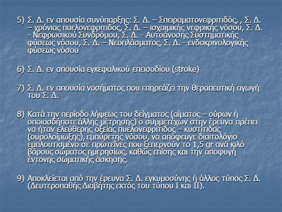 5)Σ. Δ. εν απουσία συνύπαρξης: Σ. Δ. – Σπειραματονεφριτιδός,, Σ. Δ. – χρόνιας πυελονεφριτιδος, Σ. Δ. – ισχαιμικής νεφρικής νόσου, Σ. Δ. - Νεφρωσικού Σ