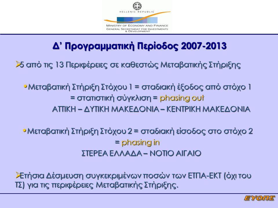 Δ' Προγραμματική Περίοδος 2007-2013  5 από τις 13 Περιφέρειες σε καθεστώς Μεταβατικής Στήριξης Μεταβατική Στήριξη Στόχου 1 = σταδιακή έξοδος από στόχ